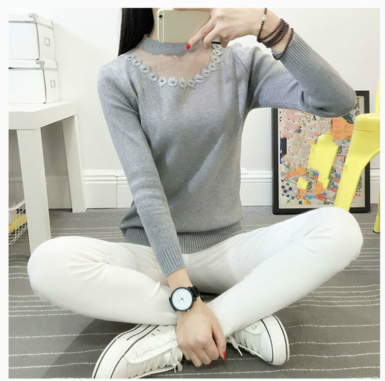 Spring Autumn Lace Patchwork Pullovers Sweater Ladies Long Sleeve O-neck Sueter Mujer Casual Knitted Women Sweaters