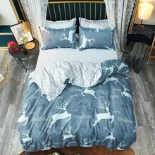 Blue Christmas Elk Comforter Soft Comfortable Bedding Sets Bed Sheet Quilt Cover Bed Linens Pillowcase King Queen Full Twin Size(China)
