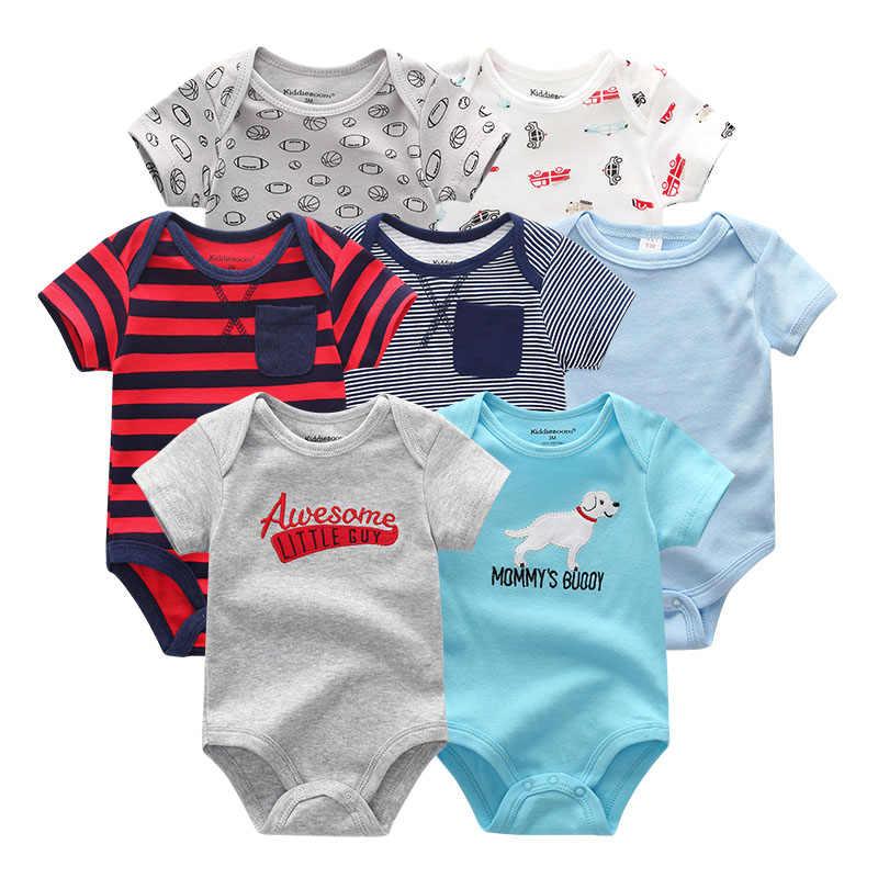 2019, 7 шт./партия, одежда для маленьких мальчиков хлопковая одежда с короткими рукавами и единорогом для новорожденных девочек гимнастический костюм Ropa bebe, черный и белый цвета