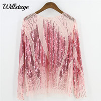 Willstage Women Sequins Tops Pink T shirts Long Sleeve Sexy Mesh Shirts Pearl Bling Party Black Embroidery blusa 2019 Spring TEE