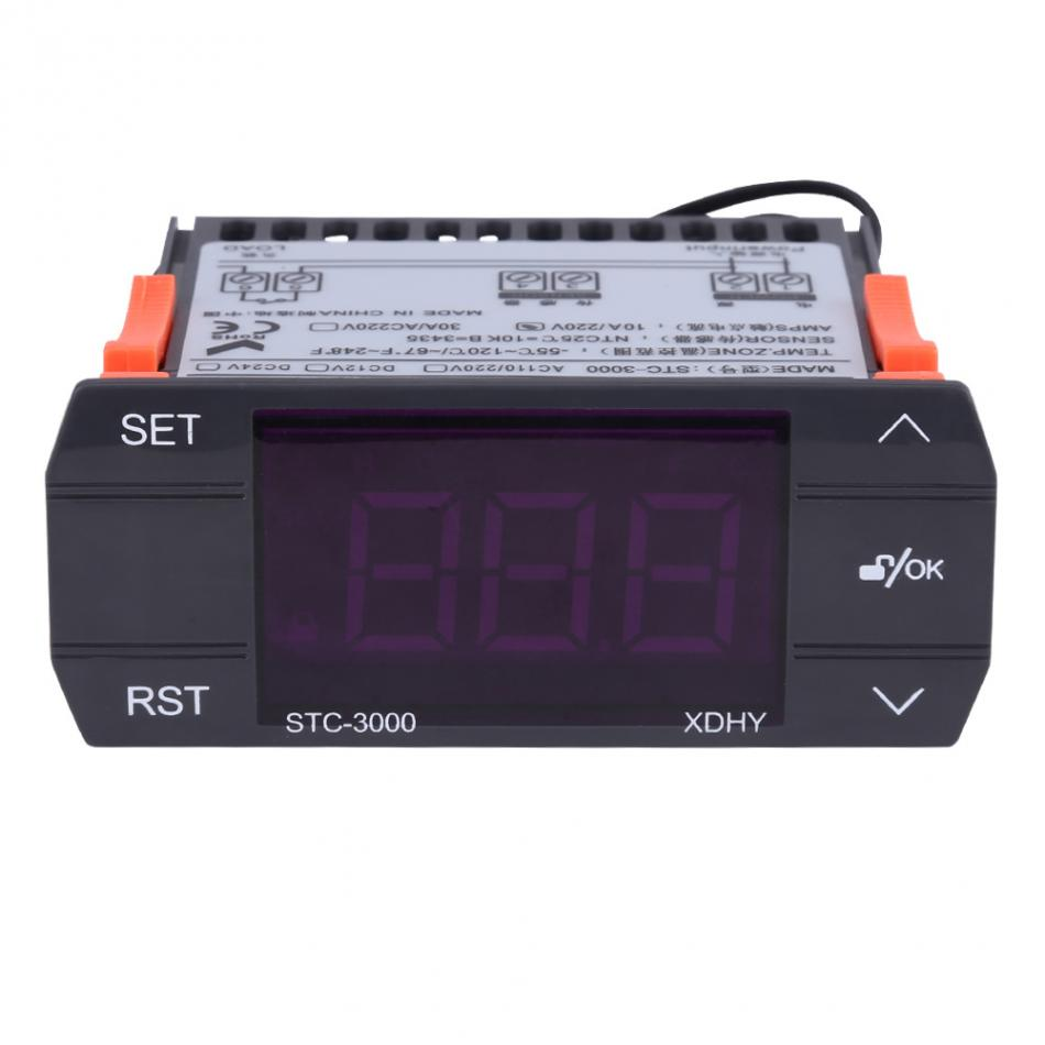 AC 30A 110V-220V Touch Digital Temperature Controller Thermostat With Sensor STC-3000 Hot