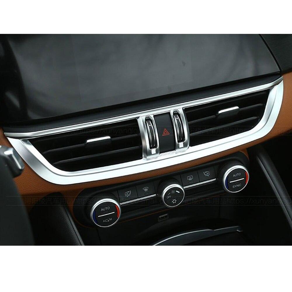 Углеродное волокно Автомобильная центральная консоль для салона кондиционер вентиляционная рамка для Alfa Romeo Giulia ABS аксессуары автостайлинг