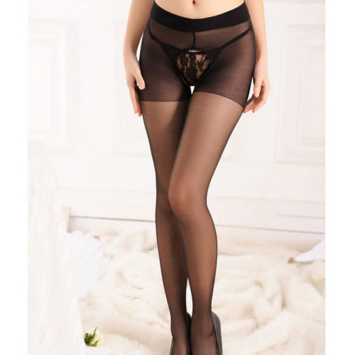 Sexy Tights One Size Women Sheer Crotchless Pantyhose Solid Open Crotch Thin