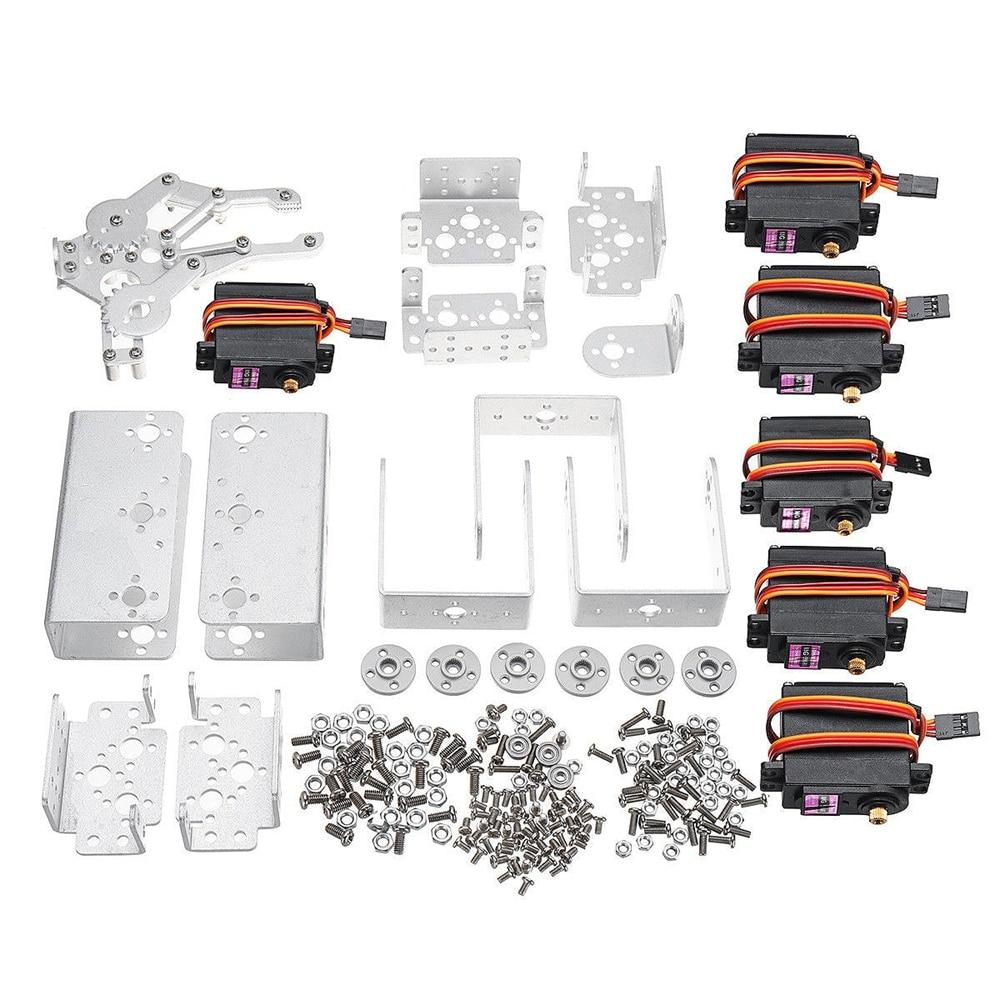 Kit de montage de griffe de bride de bras robotique mécanique de bras de l'aluminium 6Dof de chats avec le klaxon Servo de Servos pour pour Arduino-argent