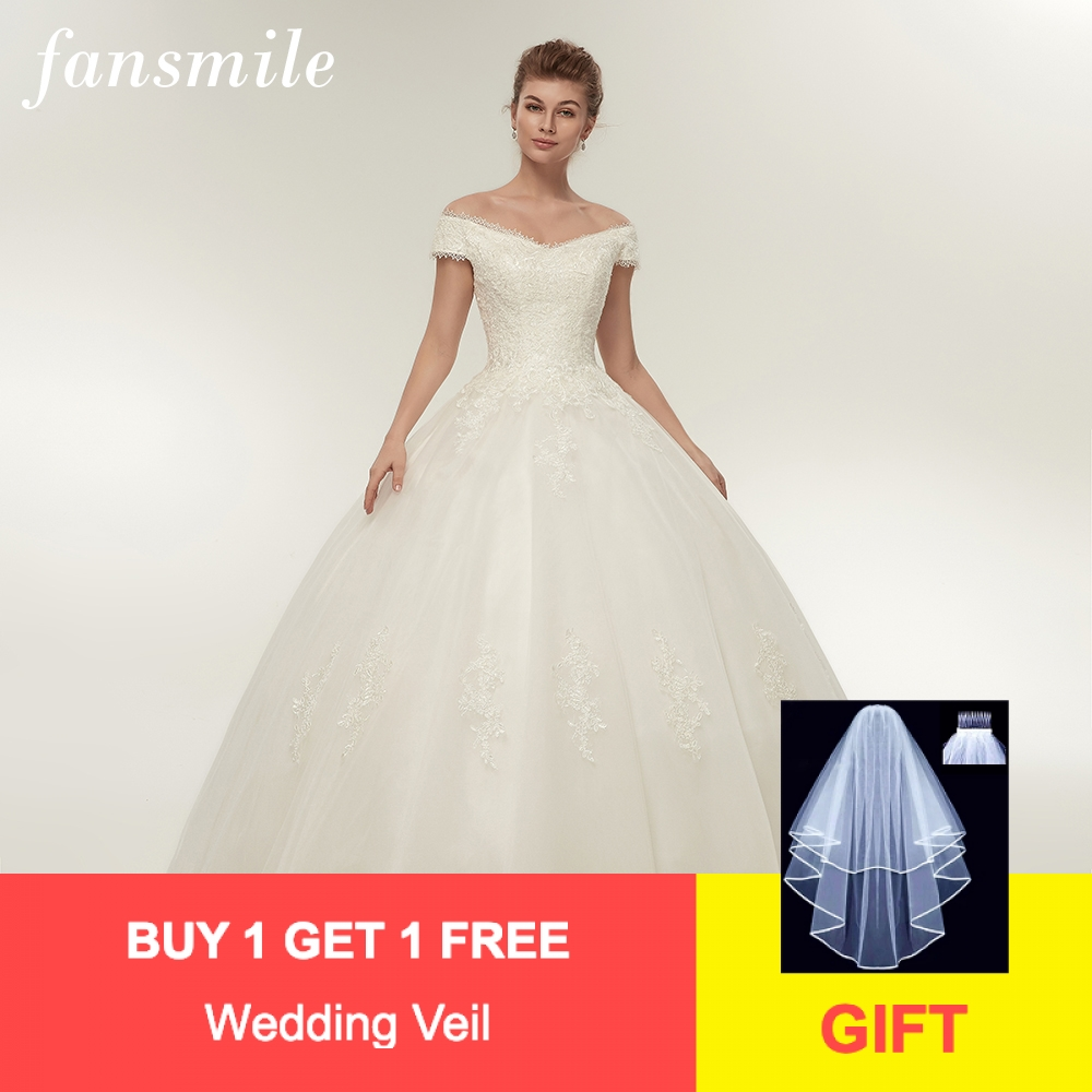 Fansmile Real Photo Simple Lace Up Ball Wedding Dresses 2020 Robe De Mariee Customized Plus Size Bridal Gowns FSM-344F