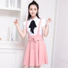 цена Women Summer Elegant Bow Bandage Chiffon Skirt Lady  Cute Sweet Preppy Style High Waist Short Braces Strap A-line Skirt в интернет-магазинах