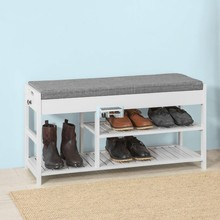SoBuy FSR47-W Shoe Rack with Lift Up Bench Top and Seat Cushion Hallway Storage Bench Organizer with Drawers