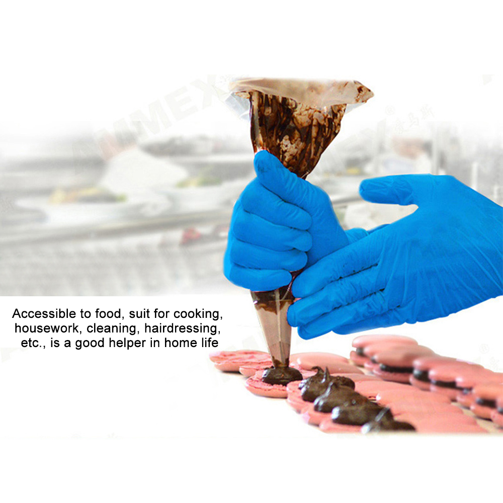 Image 4 - AMMEX 100Pcs Disposable Nitrile Rubber Glove Oil Resistant Puncture proof Gloves for Labor Home Food Medical Dental Use-in Safety Gloves from Security & Protection