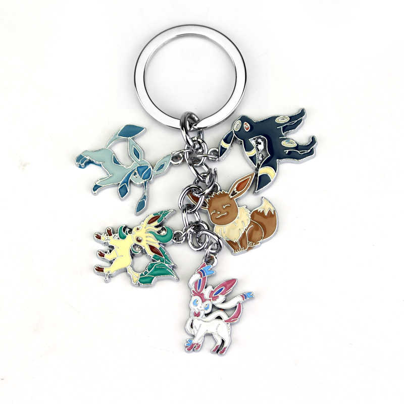 Anime Pokemon Pocket Monster Keychain Eevee Sylveon Umbreon Glaceon Leafeon Keyring Pendant Jewelry Gift Souvenir Collection Man
