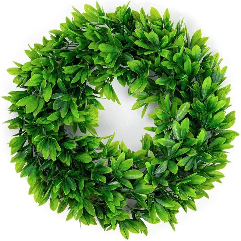 25 pièces pour couronne de feuilles vertes VIP, guirlande de feuilles de buis artificielles pour porte d'entrée mur fenêtre décor de fête, intérieur/extérieur