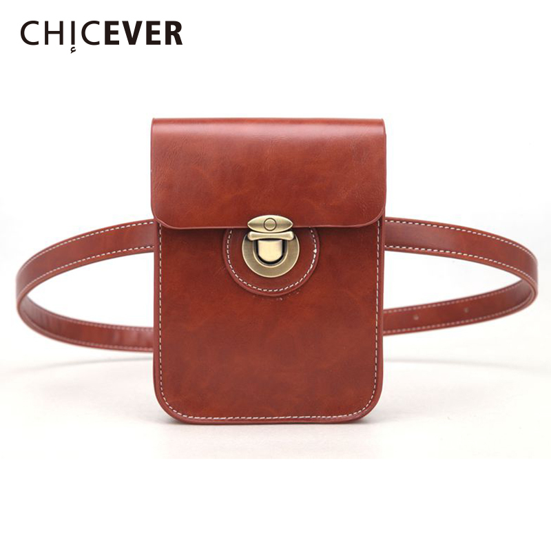 CHICEVER Women's Belt With Small Bag Pu Leather Metal Buttons Package Cummerbunds 2019 Fashion Vintage Female