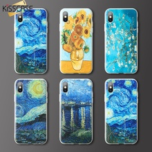 KISSCASE Oil Painting Pattern Case For Honor 9 Lite 10 8x 7a 3D Emboss Cases Huawei P20 mate 20 P Smart Y9 Coque