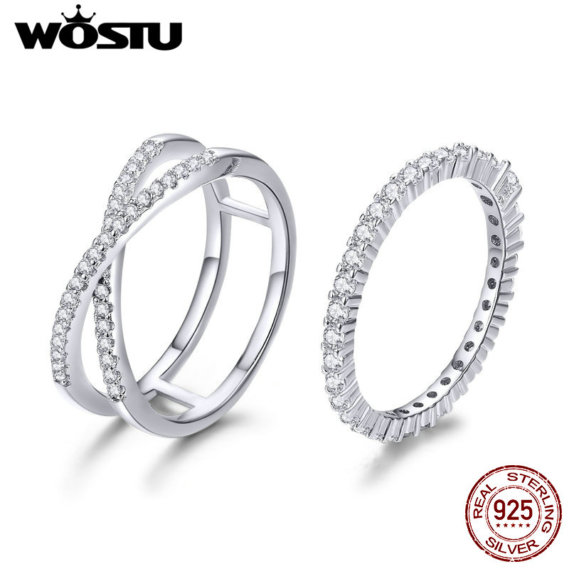 WOSTU Authentic 100% 925 Sterling Silver Loving Double Rings for Women Engagement Wedding Minimalism Silver Jewelry Gift CQR463
