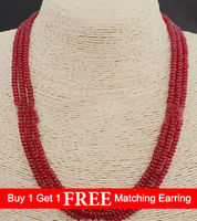 LiiJi Unique Genuine TOP 3 Rows 2X4mm Smooth Heating RED Rubys Colored Jades Bead Necklace 18'' 20''