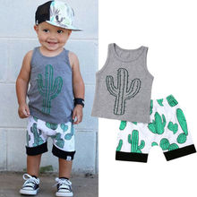 2019 Baby boy summer clothing set Gary Cactus Tops T-Shirt Shorts Outfit Sunsuit for newborn infant clothes children kid 0-3Y