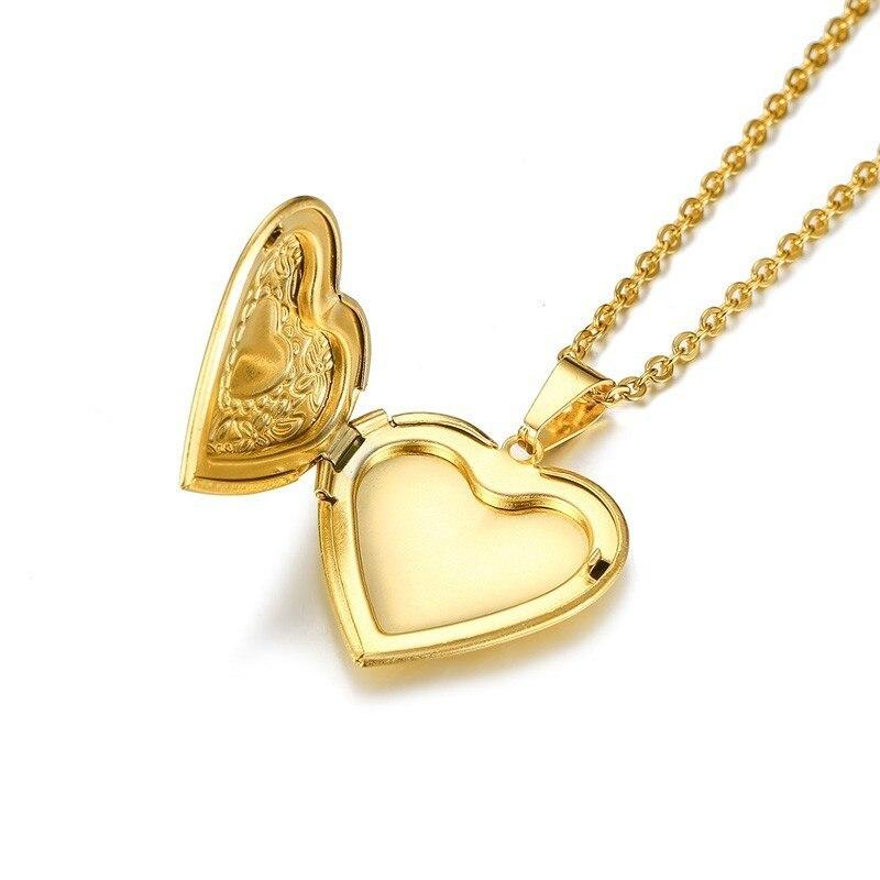 Vnox Women Heart Locket Necklace Stainless Steel Photo Frame Memory Romantic Love Pendant for Female Promise Keepsake Gift