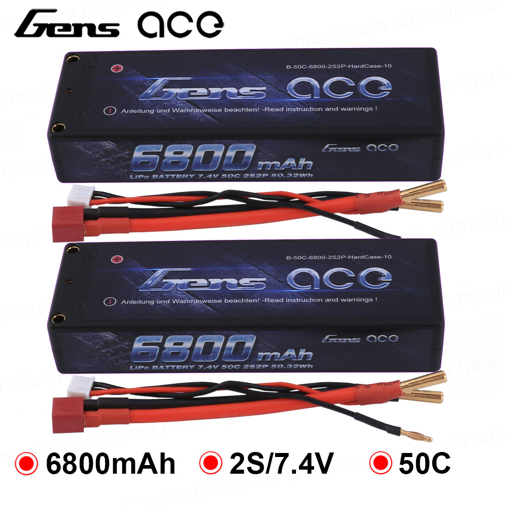 Gens ace 7000mAh 7.4V 50C 2S2P Hardcase Lipo Battery Pack 10# with 4.0mm...