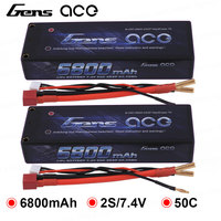 2Pcs Gens ace 2S Lipo Battery 6800mAh 7.4V Batteria Pack 50C Deans Connector for Axial RC Car 1/8 1/10 Hardcase High Discharge