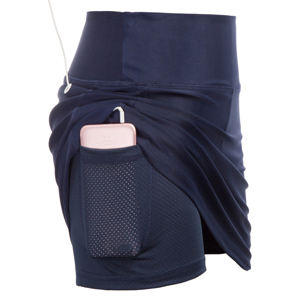 new summer style vogue pockets mesh   shorts   skirts for Women Athletic Sportswear Elastic Waist high Stretchy slim Culotte Skirt