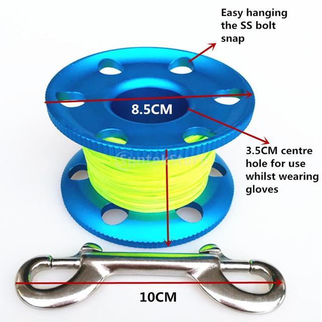 Scuba Diving Aluminium Finger Spool Reel 20/30/50M Line with Stainless Steel Snap Bolt Clip Black Blue Purple