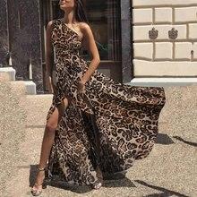 فستان ماكسي شيفون بكتف واحد ستايل بوهو