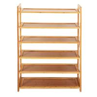 1pc Concise Rectangle 6 Tiers Bamboo Shoe Rack Wood Color High Quality Shoe Rack Organizer Shoes Classification Storage Cabinets