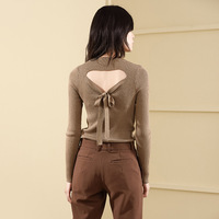 Solid bottoming knitting shirt woman pullover autumn and winter slim thin sweater wool blends sexy backless sweater 18200