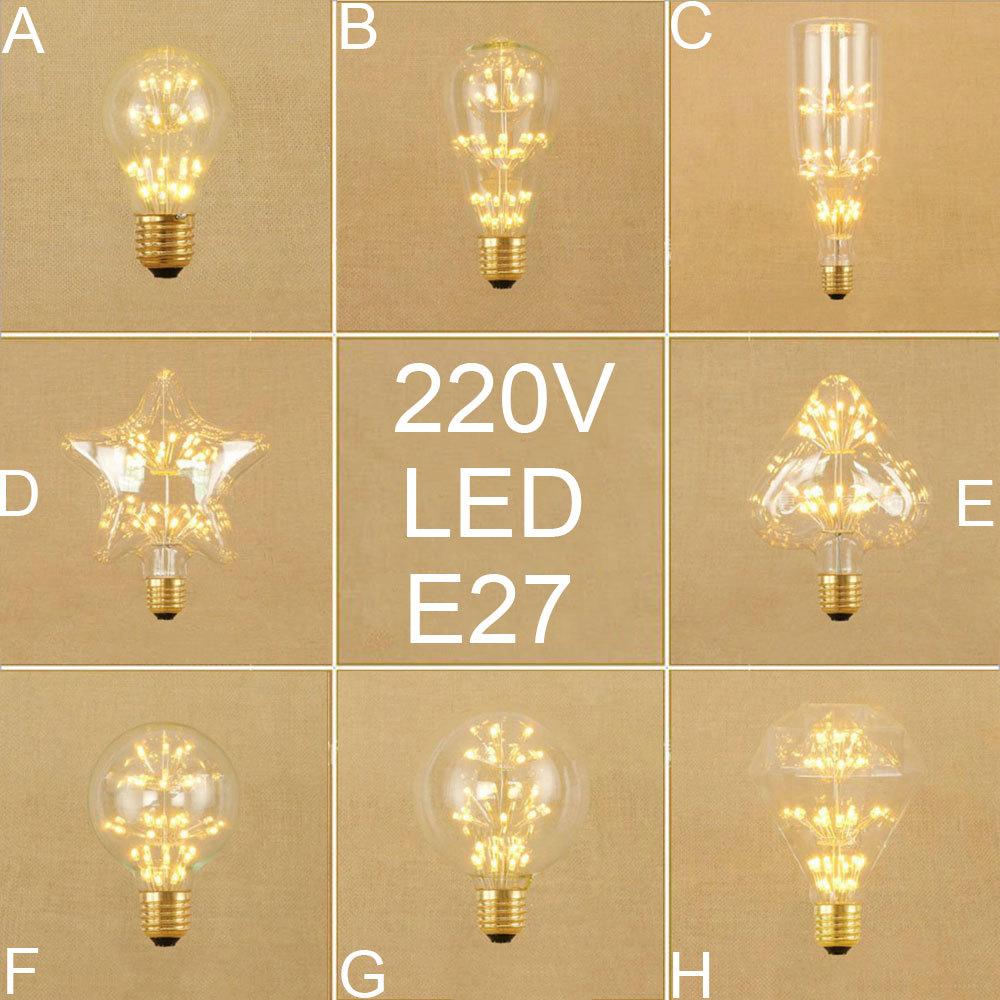 Led Bulbs & Tubes Industrious 220v 230v 240v Vintage 40w E27 Edison Bulbs Retro Led Screw Bulb A19 St64 G80 G95 Haert Starry Diamond Bulb Filament Bulbs Lights & Lighting