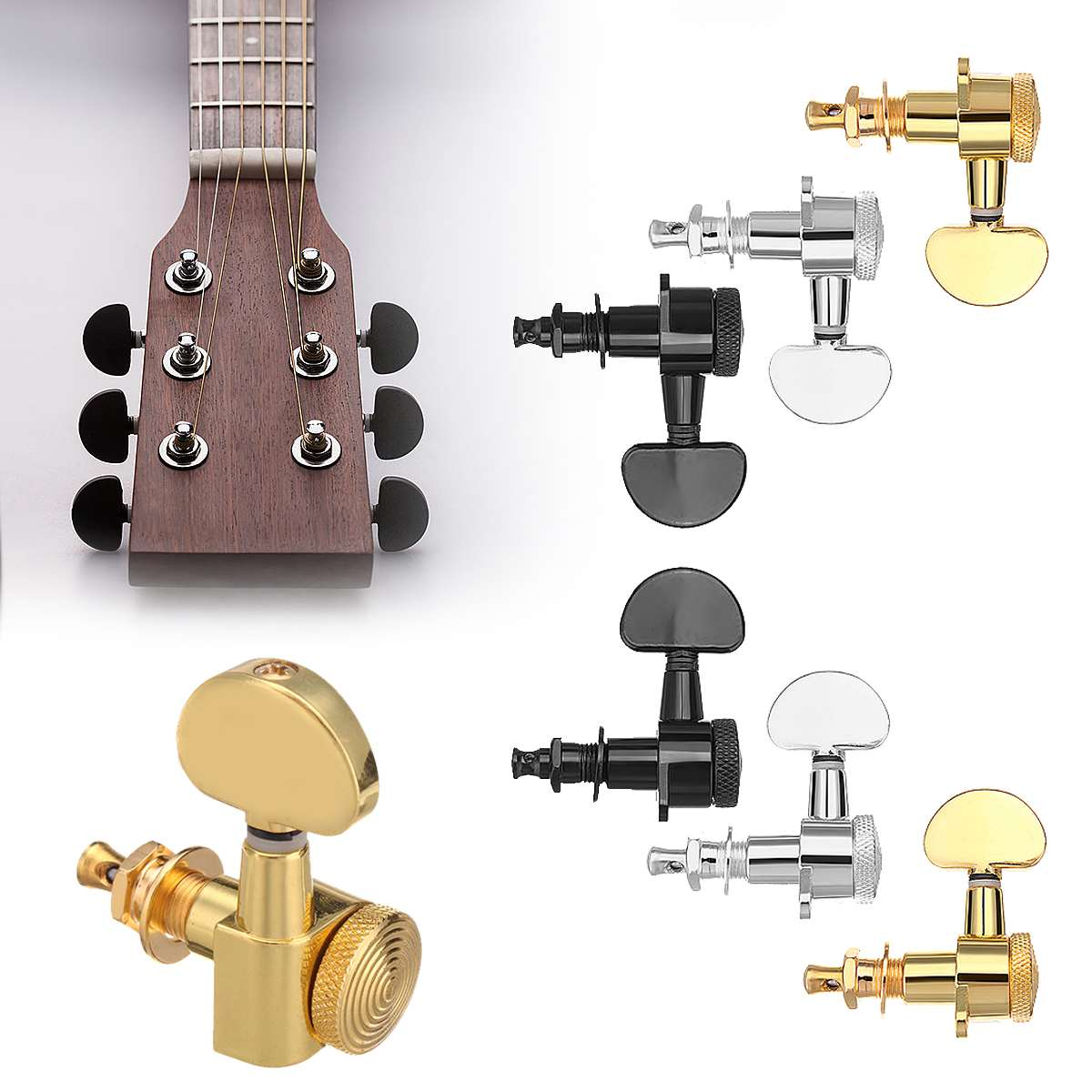 6pcs guitar tuners machine heads 3r 3l auto locking tuners guitar parts replacement black gold. Black Bedroom Furniture Sets. Home Design Ideas