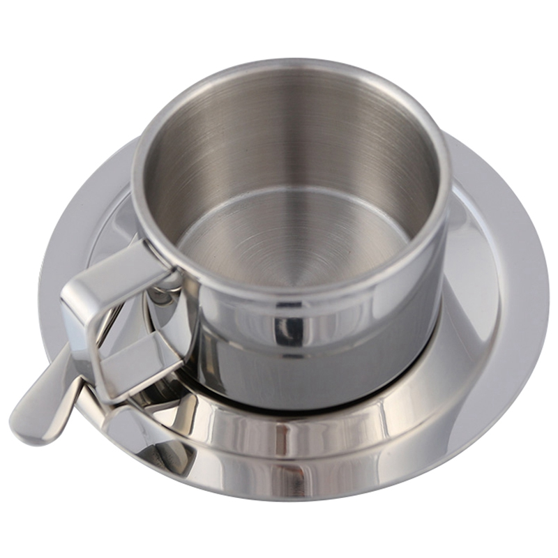 Stainless Steel Tea Coffee Mug Cups Double Wall Insulated Coffee Tea Cup With Saucer Spoon Set For Coffee Tea Milk Home Kitche