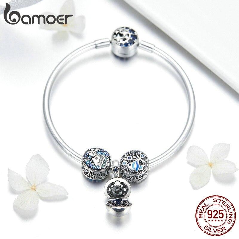 BAMOER 100% 925 argent Sterling poisson Tropical océan charme bracelets pour femme lune étoile bleu Bracelet & Bracelet bijoux SCB813-in Bracelets ficelle et chaîne from Bijoux et Accessoires    3