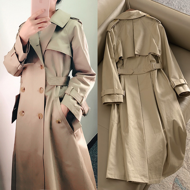 2019 Spring New Long Windbreaker Woman Khaki Outwear Autumn British Lapel Coat Manteau Femme Loose Double-breasted   Trench   Coat