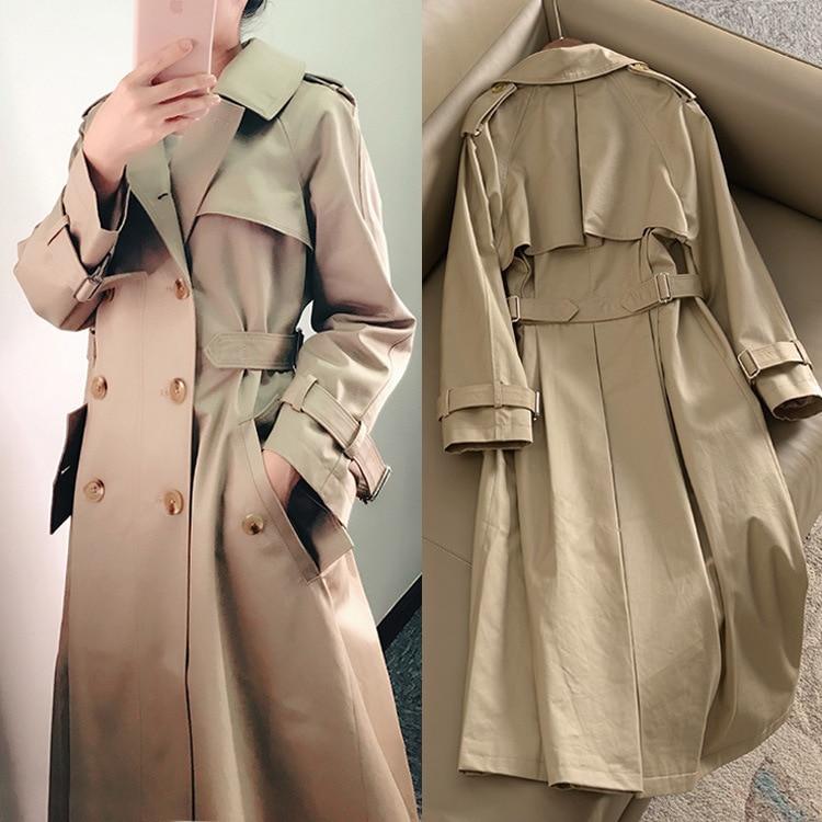 Khaki Double-breasted Trench Coat Women Autumn British Lapel Long Windbreaker Clothes Femme Loose Cloak Dust Coat Spring Outwear