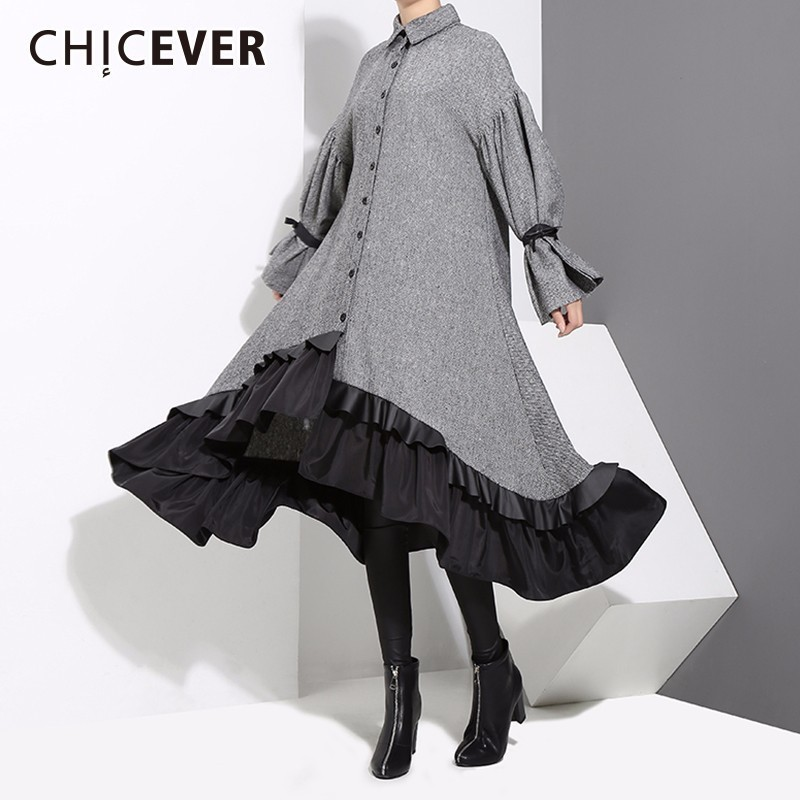 CHICEVER Autumn Dresses Female Batwing Sleeve Loose Big Size Hit Colors Hem Asymmetrical Ruffles Dresses For