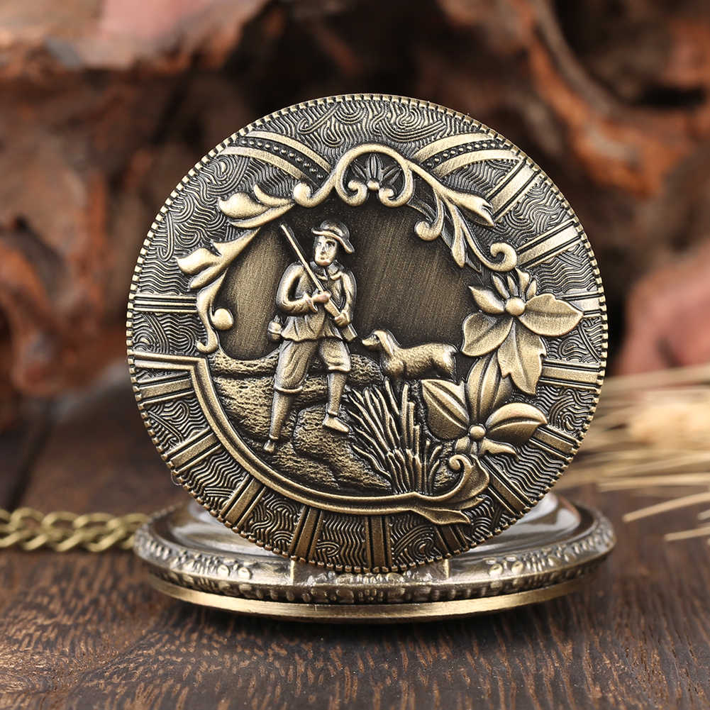 Antique Mens Pocket Watch Hunting Pattern Classic Arabic Numeral Scale Thin Chain Convenient Practical Pocket Watch for Boy Men