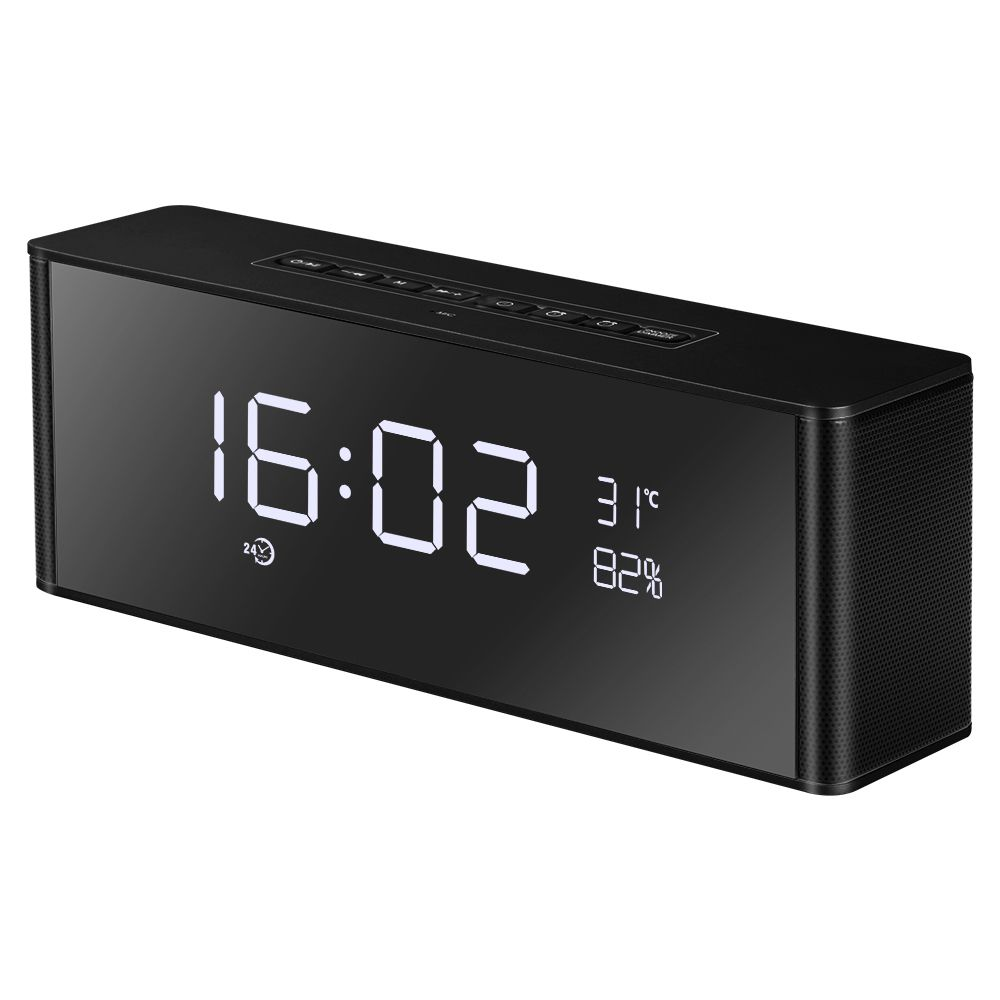 Alarm Clock Bluetooth Speaker Portable Wireless 3D Surround Stereo Speakers Support Handsfree TF FM AUX LED display with Mic
