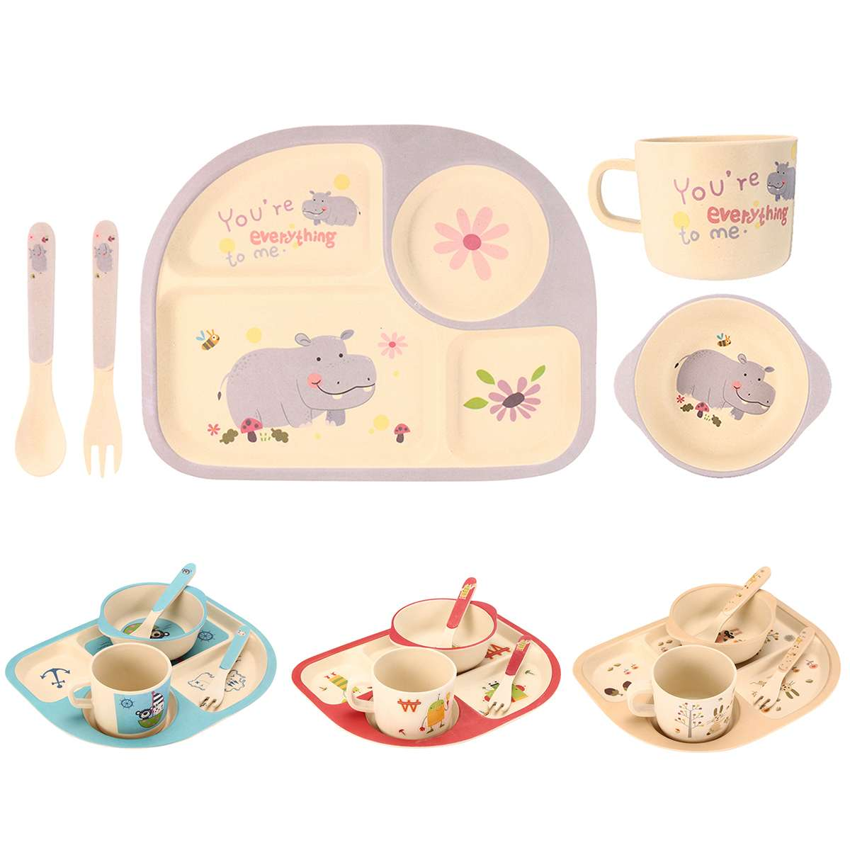 Baby Feeding Bowl Plate Dishes Fork Spoon Cup Children Tableware Bamboo Fiber Cartoon Separation Feeding Plate 4 Colors 5Pcs/SetBaby Feeding Bowl Plate Dishes Fork Spoon Cup Children Tableware Bamboo Fiber Cartoon Separation Feeding Plate 4 Colors 5Pcs/Set