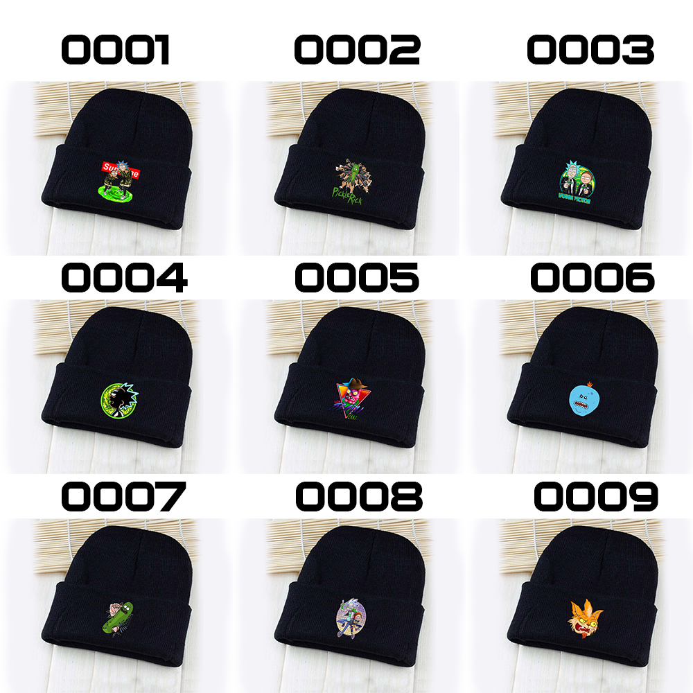 OHCOMICS Rick and Mori Pickle Rick Anime MEESEEK Cotton Polyester Hat Knitted Hat Cap Hip-Hop Handsome Sleeve Cap Costume Decor