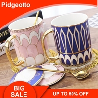 Blue and Gold Bone China Coffee Cup With Spoon European Style Creative Ceramic Afternoon Tea Teacup For Water Beautiful Gift Box
