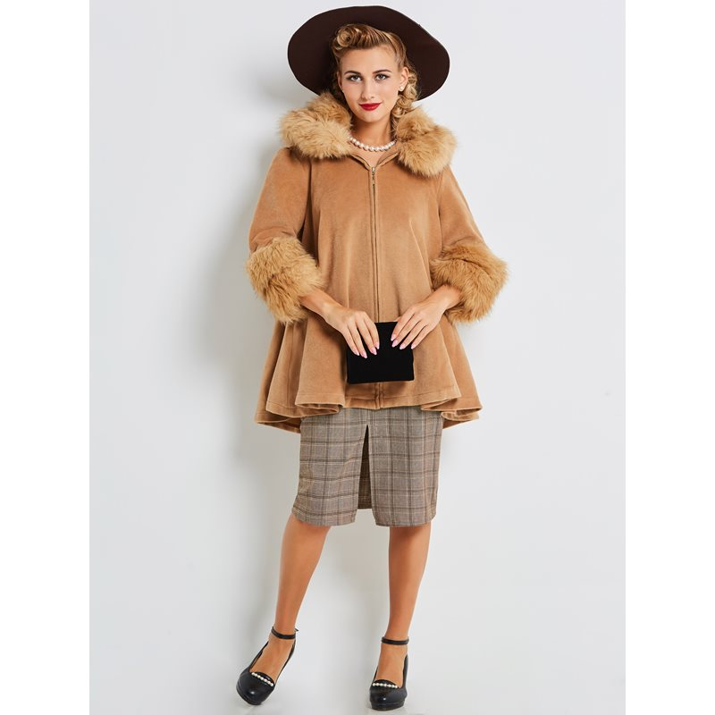 Women Woolen Coat Vintage Luxury Fake Fur Collar Soft Elegant Casual Street Stylish Outerwear Ladies Autumn Winter Warm Overcoat
