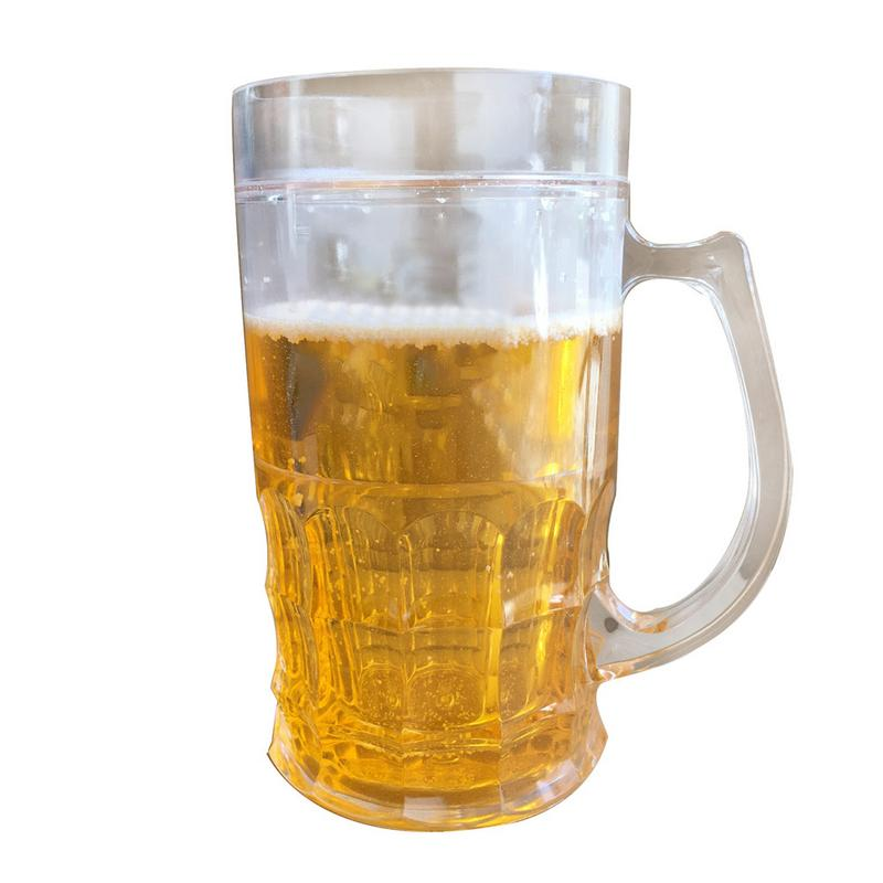 450ml Creative Cool Double Mezzanine Summer Beer Glass Beach Town Ice Spoof Fake Beer Mug Glass image