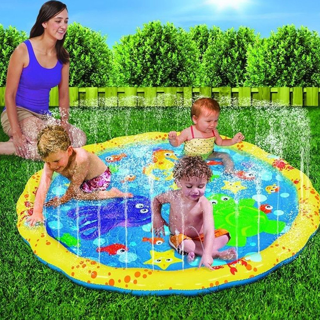 100cm Round Inflatable Baby Pad Water Mat Patted Play Cushion For Infant Baby & Kids' Floats