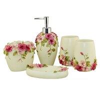 Lber estilo país resina 5 pçs acessórios do banheiro conjunto dispensador de sabão/suporte escova de dentes/tumbler/saboneteira (verde)