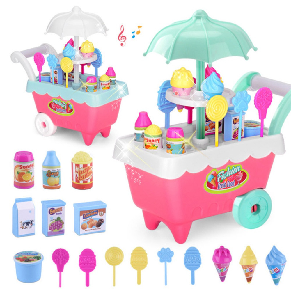 DIY Kids Toy Children Role Play Toys Educational Toy Mini Candy Cart Detachable Ice Cream Shop Cart With Light And Music