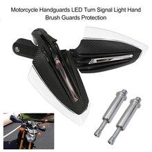 Protetores de mão para motocicletas 2 peças, guardas luzes de seta de led para motocicletas, proteção para escova de mão