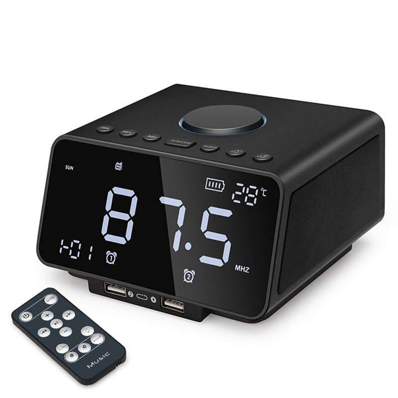 LED Digital Alarm Clock With FM Radio/Wireless Bluetooth Player/USB Fast Charge Port,/TF Card Play/Temperature And Date Display