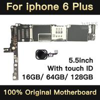 Unlock Motherboard for iphone 6 plus 16GB 64GB 128GB IOS logic board original Mainboard with touch ID for iphone6 Plus quality