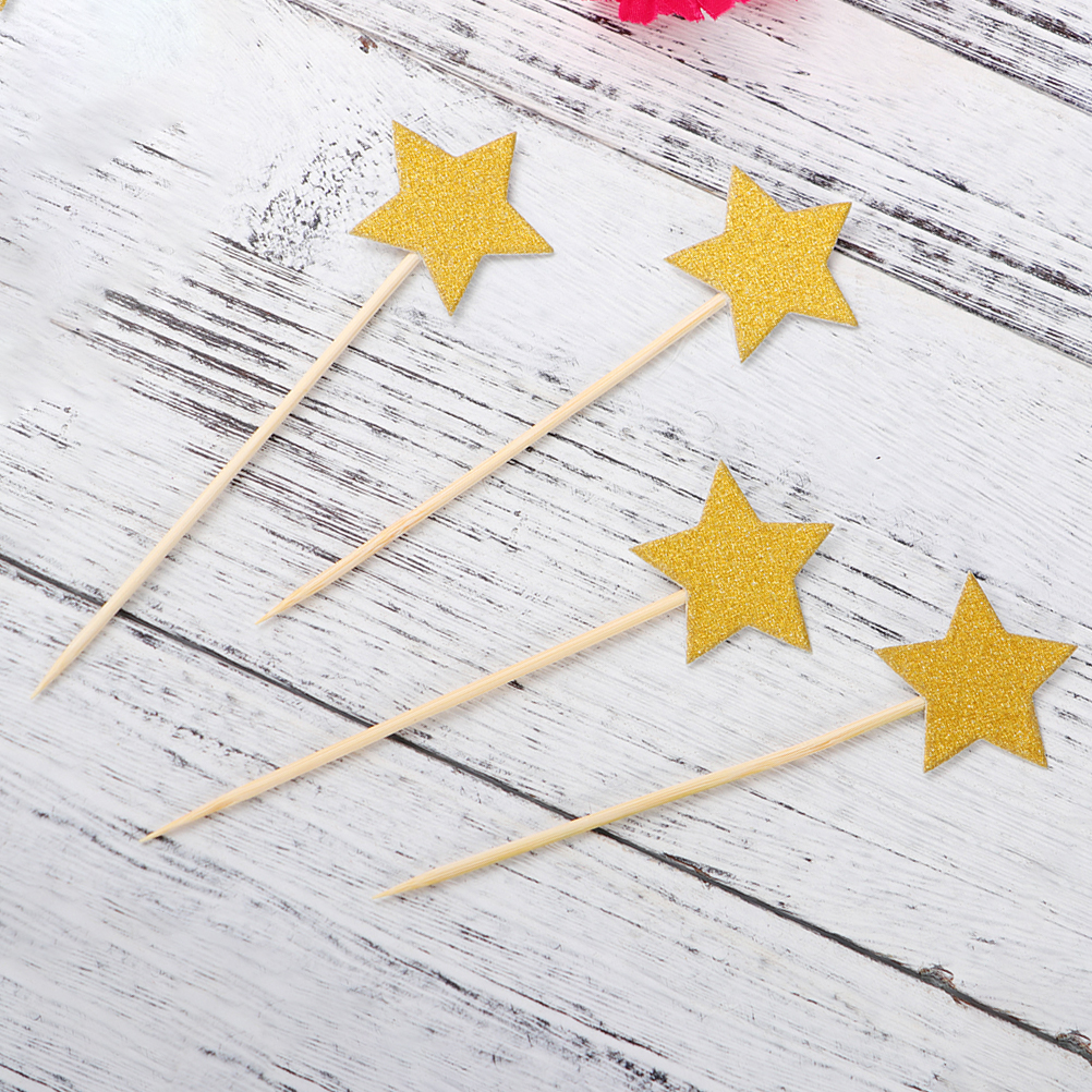 Festive & Party Supplies silver 36pcs Glitter Star Cake Topper Dessert Cake Insert Card Birthday Party Cake Decoration Baby Shower Supplies