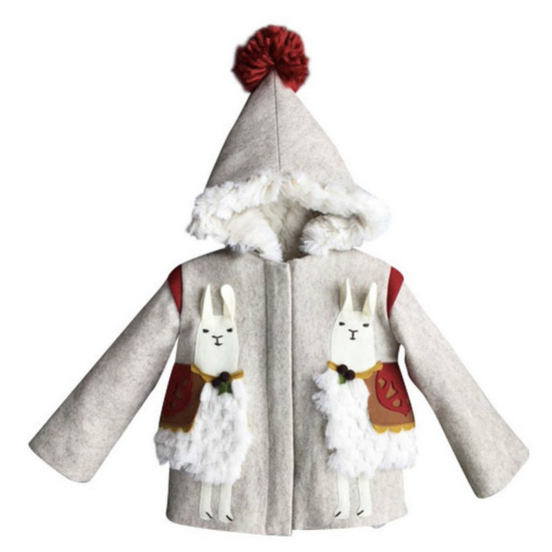 Kids Velvet Jacket Winter Boys Girls Cute 3D Alpaca