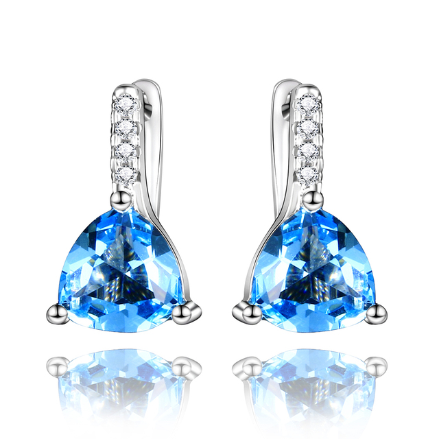 New Fashion Solid 925 Sterling Silver Shining Zircon Aquamarine Dangle Earrings Wedding Engagement Drop Women